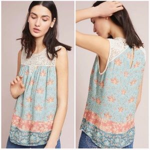 Anthropologie Maeve Laced Eleanor Floral Tank Top